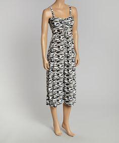 Look at this #zulilyfind! Black & White Abstract Tie-Waist Sleeveless Dress by California Women #zulilyfinds