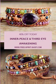 Beaded Wrap Bracelets, Beaded Jewelry, Handmade Jewelry, Hippie Jewelry, Jewlery, Crown Chakra, Amethyst Crystal, Insomnia, Nervous System