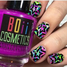 Watermarble Star Swirl mani by nails.by.teens!  - Star Swirl Nail Vinyls found at: snailvinyls.com