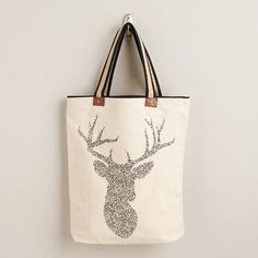 Stag Tote with Striped Handle via Cost Plus World Market >> #WorldMarket Holiday Gift Giving Ideas #GiftGuide