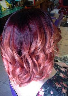 Red Violet, rose gold ombre