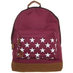 MiPac STARS Rucksack burgundy (67 SAR) ❤ liked on Polyvore featuring bags, dark red, zip bag, handle bag, burgundy bag, zip handle bags and backpack bags