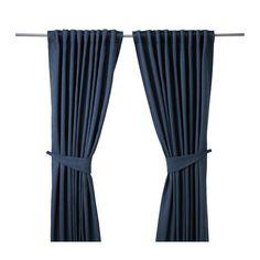 BLEKVIVA Gardiner med gardinbånd, 2 stk. IKEA De tætvævede gardiner mørklægger rummet og gi'r privatliv, fordi man ikke kan se ind i rummet udefra.