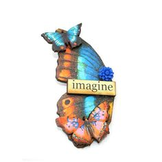 Butterfly Brooch Wooden Butterfly Accessory by LaurasJewellery, £7.00