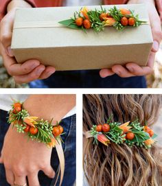 floral accessories: package topper, hair tie, corsage, bracelet