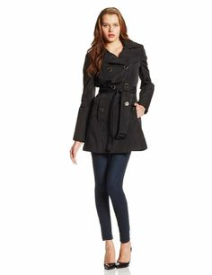 Calvin Klein Women's Double Breasted Quited Trench Coat at Amazon Women's Clothing store