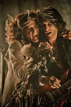 """Aerosmith's Steven Tyler & Joe Perry on the set of """"Legendary Child"""" music video"""