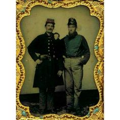 "Murry F. Taylor and Richard H. T. Adams on the staff of A.P. Hill. Adams is wearing his uniform of the ""Lynchburg Home Guard."" Colored Quarter-plate ambrotype by Rees. The ""Lynchburg Home Guard"" became Company G, 11th Virginia Infantry."