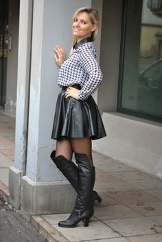 Leather Fashion, Hosiery, Skater Skirt, Tights, Stockings, Boots, Skirts, Collection, Leather Skirt Outfits