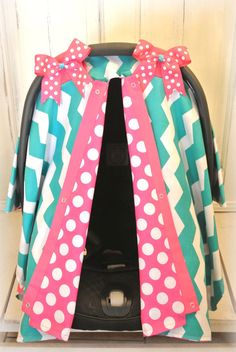 car seat canopy car seat cover chevron teal by JaydenandOlivia, $39.99