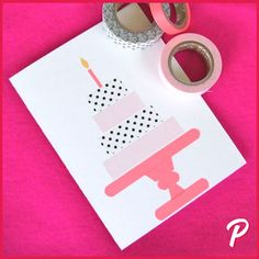 Decorate birthday card with washi tape - Crafts Diy Diy Washi Tape Birthday Cards, Creative Birthday Cards, Washi Tape Cards, Washi Tape Diy, Handmade Birthday Cards, Happy Birthday Cards, Masking Tape, Washi Tapes, Folded Cards