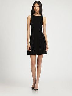 A.L.C. Bach Snap-Trimmed Dress on sale. This dress would look great with the 3.1 Phillip Lim leather leopard sleeved jacket.