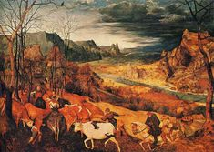 "artist-bruegel: ""The Return of the Herd (November), 1565, Pieter Bruegel the Elder Size: 159x117 cm Medium: oil, panel"""