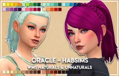 """celebi88: """" I kinda love this hair okay. Habsims Oracle hair, V1 and V2, recolored in WildlyMiniatureSandwich's naturals and unnaturals. Added as additional swatches. Separate files. Meshes needed here Download - V1 - V2 Credits @habsims for the..."""