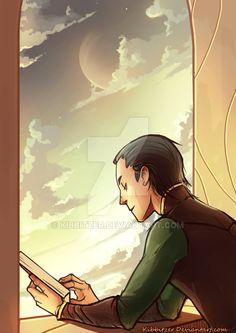Loki: reading a book :3 by Kibbitzer