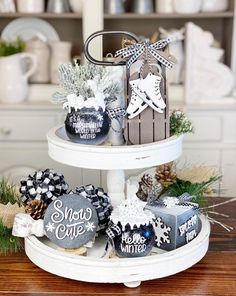 White Christmas, Christmas Time, Christmas Crafts, Christmas Decorations, Kitchen Tray, Faux Snow, Hello Winter, Winter Home Decor, Tiered Stand