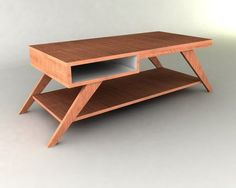 A furniture plan to allow you to build a wonderful retro modern style coffee table. This simple 50's / 60's design and extremely easy to build. This table can be made from one piece of 4 foot by 8 foot plywood, a few dowels, and a jig saw and drill. From plancanvas