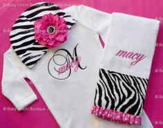 Coming home outfit?  Baby Girl Gown or Onesie with Rhinestone Flower Zebra Hat and Burp Cloth - Custom Monogrammed - Newborn thru 12 months. $52.50, via Etsy.