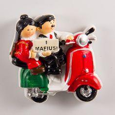 Resin Fridge Magnet: Italy. Mafioso Family Riding Vespa