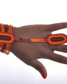 www.cewax.fr aime Jainli.com -  Bracelet bague AMANI  Orange et Marron