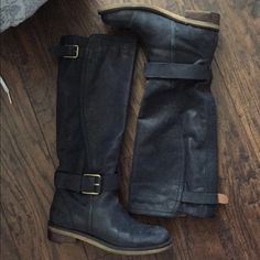 LUCKY BRAND BOOTS Black leather, good condition. FITS 7.5!!!!! No trades. Lucky Brand Shoes Over the Knee Boots