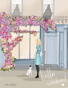 Wall Art for Women - Bookshelves and Flowers - Hello Weekend - Heather Stillufsen Weekend - Library Art Hello Weekend, Bon Weekend, Happy Weekend, Happy Friday, Paper Ipad, Library Art, Pics Art, Spring Flowers, Beautiful Pictures