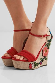 Gucci - Appliquéd Suede Wedge Espadrille Sandals - Red - IT