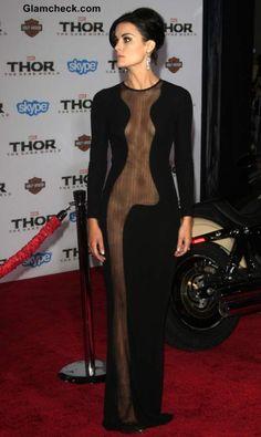 Jaime Alexander in Very Revealing Sheer Dress