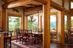 The understated allure of Post and Beam style is a great alternative to full log wall homes. Learn about the style from PrecisionCraft Log & Timber Homes. Log Cabin Living, Log Cabin Homes, Log Cabins, Rustic Cabins, Log Home Interiors, Rustic Interiors, Log Home Kitchens, Log Home Designs, Beautiful Dining Rooms
