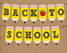 You will receive the full alphabet plus a page of apple flags - Each flag is x inches - 2 flags per page - Example: AB, CD, EF, etc. - Packet with BACK TO SCHOOL - Packet with WELCOME Back To School Party, School Parties, Back To School Quotes, Preschool Bulletin Boards, Preschool Classroom, Welcome Banner, Welcome Back To School, Printable Banner, Early Learning