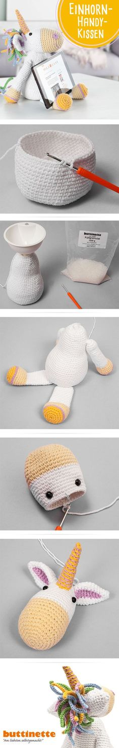 Baby Knitting Patterns Toys Our unicorn is not only cute, but also holds your tablet or smartphone . Crochet Animal Amigurumi, Crochet Unicorn, Amigurumi Patterns, Crochet Animals, Crochet Dolls, Baby Knitting Patterns, Crochet Diy, Crochet Gifts, Craft Ideas