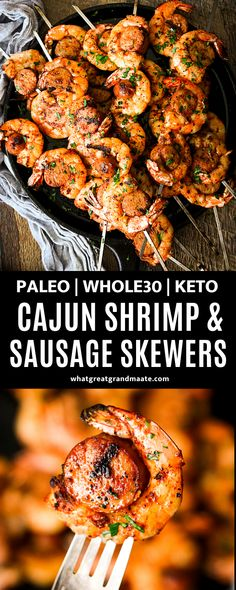 These spicy and delicious grilled cajun shrimp and sausage skewers are so addicting and flavorful! They are easy and take less than 15 minutes to make, and they happen to be paleo, Whole30, and keto. #paleo #whole30 #keto #grillrecipe #shrimpandsausage #cajunshrimp