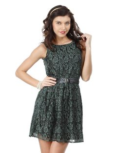 The Vanca Olive Green Lace Dress