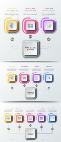 Buy Modern Infographic Choice Templates Items) by Andrew_Kras on GraphicRiver. Three (four and five) square elements connected by lines with main one. Percentage distribution, percent or share ind. What Is An Infographic, Infographic Resume, Creative Infographic, Infographic Templates, Infographics Design, Cv Design, Layout Design, Design Art, Marketing Strategy Template