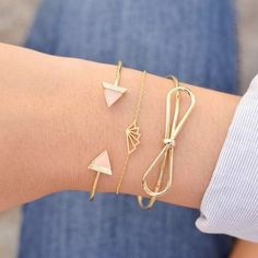 Majolie - Noeud Papillon Gold Bangle Bracelet - - 1