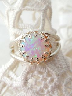 White opal ring, Silver opal ring, Gemstone ring