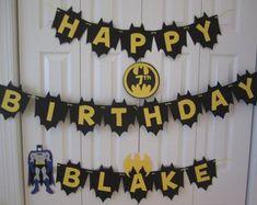 Wizard of Oz Rainbow themed birthday party via Kara's Party Ideas - www. Batman birthday banner personalized with name by ti. Lego Batman Party, Batman Birthday, Superhero Birthday Party, 4th Birthday Parties, Happy Birthday Banners, Birthday Party Decorations, Boy Birthday, Birthday Ideas, Batman Et Superman