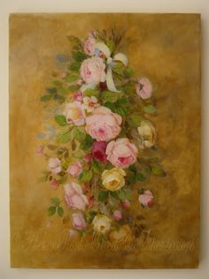 Roses suspendues - Original Oil painting © Atelier Flont- Roses Other seasons Rose Oil Painting, China Painting, Antique Roses, Vintage Roses, Rose Shabby Chic, Art Pictures, Art Pics, Victorian Paintings, Rooster Art