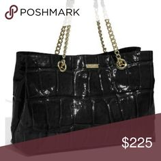 """Kate Spade Helena NWT Kate Spade patent leather textured crocodile embossed pattern in black. Magnetic snap closure 9"""" strap drop handles Measurements 15""""x10""""x6"""" 2 interior compartments separated by zip divider Gold tone metal feet Dust bag kate spade Bags Shoulder Bags"""