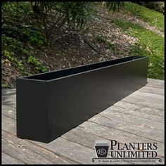 A collection of outdoor commercial planters designed to function as modern planters and contemporary planters stylistically.