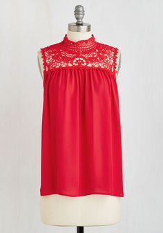 Home Away from Rome Top - Red, Solid, Crochet, Casual, Boho, Americana, Sleeveless, Summer, Woven, Good, Mid-length