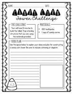 "Looking for a fun STEM activity to use to celebrate Halloween?!This challenge asks students to use toothpicks and candy corn to build the tallest tower they can. For this project, my students used candy corn marshmallows!!Students can use this 2-sided printable to record their ideas, plans, and reflections related to this challenge!!Enjoy!!Click here to view my blog post using this freebie!This free resource is featured in the ""Tricks and Treats"" Fall ebook presented by Upper Elementary…"