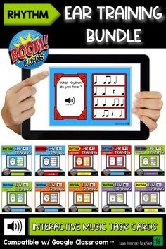 Looking for digital, interactive music games that are fun and engaging? Check out Music BOOM cards! This is a bundle of music ear training games, perfect for music distance learning and music education at school. Music teachers will love assigning the rhythmic dictation games to their google classroom, seesaw, canvas