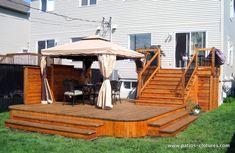 Wooden patio - All For Garden Wooden Patios, Wooden Terrace, Backyard Plan, Backyard Patio, Patio Wall, Flagstone Patio, Concrete Patio, Gazebo On Deck, Bohemian Patio