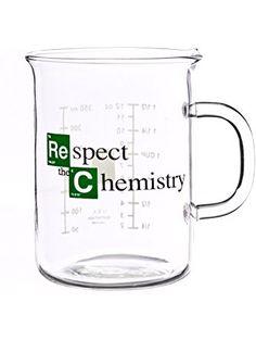 """""""Respect The Chemistry"""" 400 mL Glass Beaker Mug, inspired by Breaking Bad ❤ Cool TV Props"""