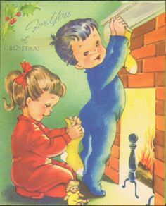 Getting Ready Vintage Christmas Card Cute Boy and Girl Hanging Stockings Over Fireplace