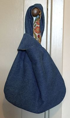 Medium Wash Denim Knot Bag Fully Lined by VirginiaWay on Etsy #denim #knotbag #virginiaway