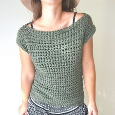 Boat neck crocheted sweater pattern to buy on Ravelry