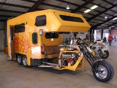 Missing the point. Why not just have a real camper or a real motorcycle? Motorcycle Trailer, Motorcycle Camping, Kombi Motorhome, Campervan, Custom Trikes, Custom Cars, Vw Trike, Goldwing Trike, Truck Bed Camper