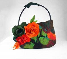 Felted Bag Flower Purse Nunofelt Bag Art Handbag Art ♡ by filcant